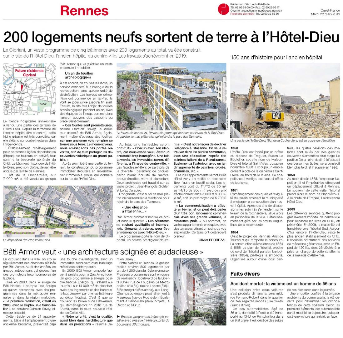 LANCEMENT COMMERCIAL LE CIPRIANI - HOTEL DIEU RENNES